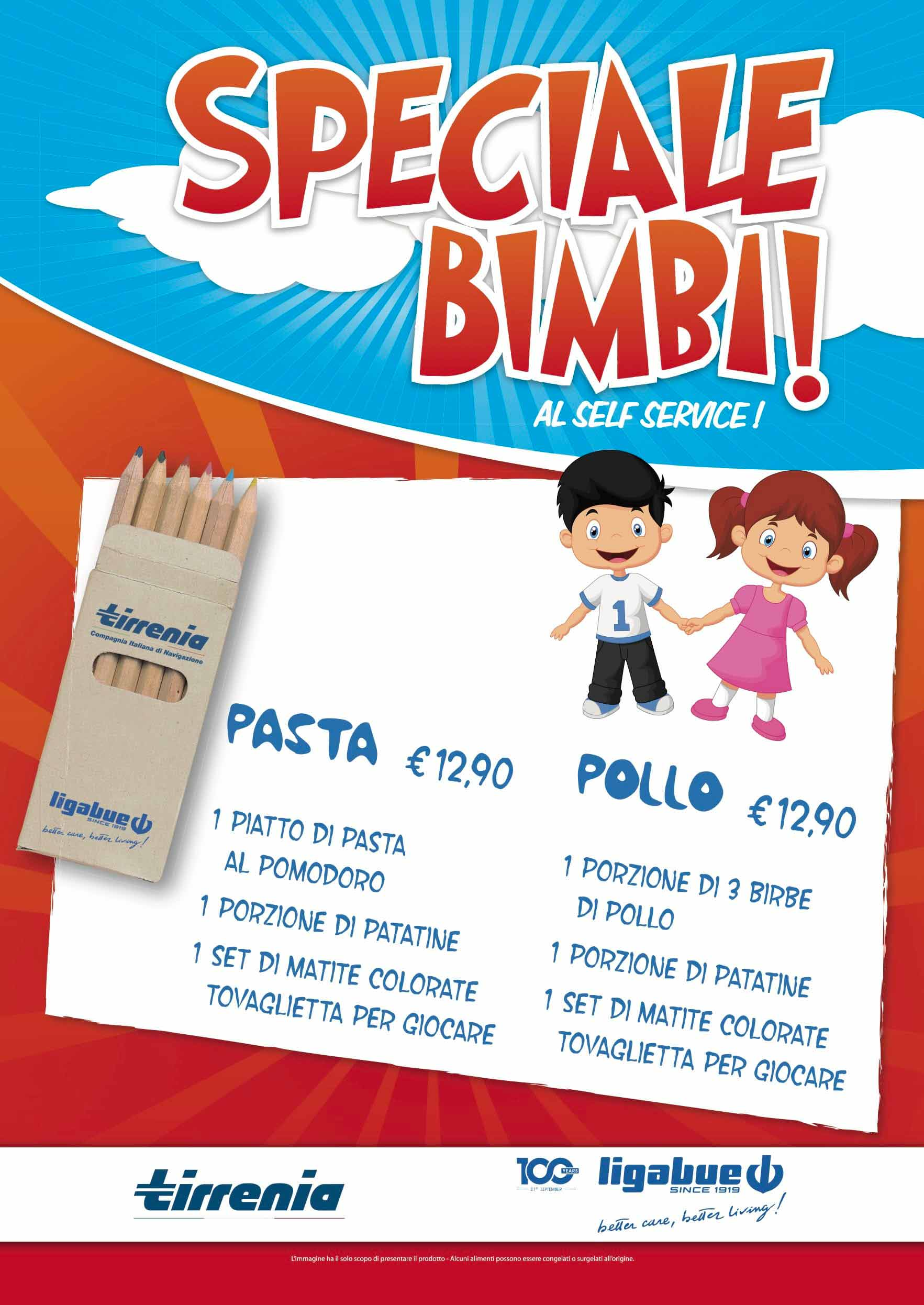 tirrenia menu self service per bambini